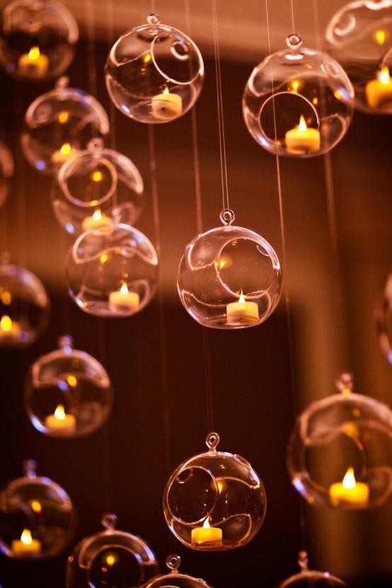 Wedding - Glass Hanging Tealights Ornaments