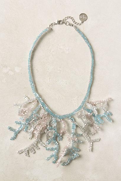 Ожерелье подарок бледно голубой летом пляж бисером# колье #подарок #бледный #голубое #лето #пляж #бисером.