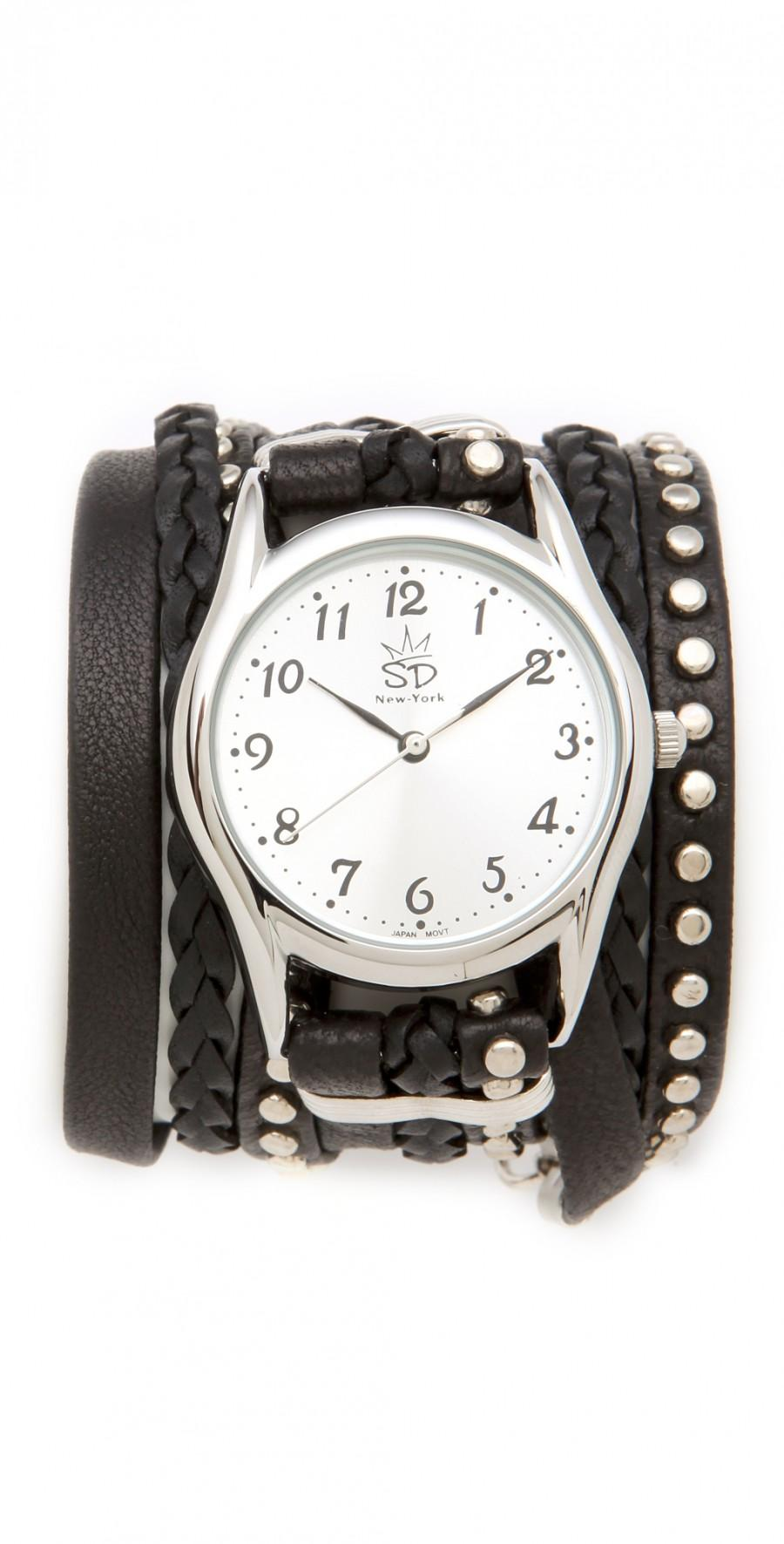 Wedding - Leather Studded Wrap Watch