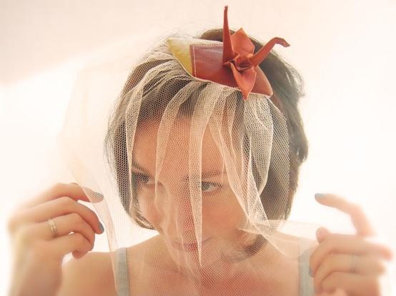 Свадебный декор с оригами-журавликами.