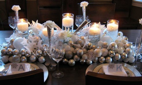 Silvester Weihnachten Tischdekorationen Winter Wedding Table