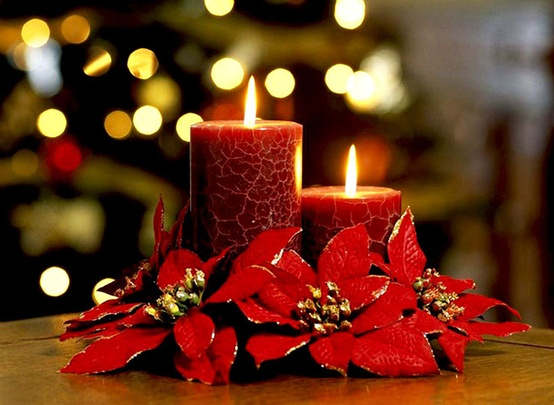 Red christmas table centerpieces wedding
