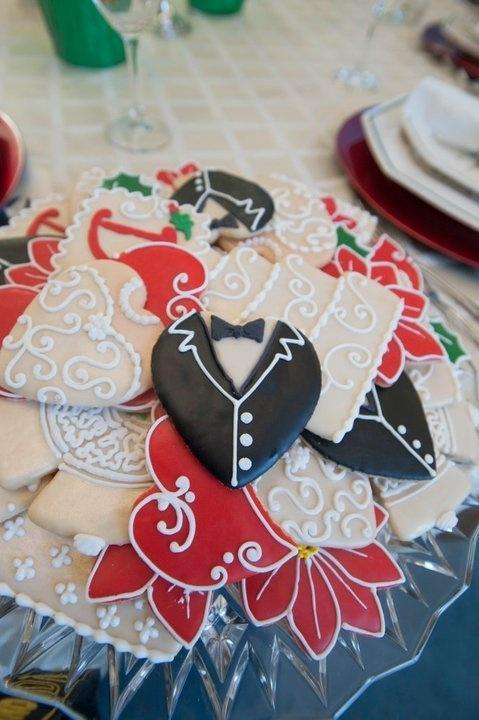 Christmas Wedding Sugar Cookies Gown And Tuxedo Hearts Wedding