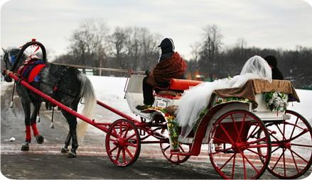 Wedding - Christmas Winter Wedding Carriage Car Idea