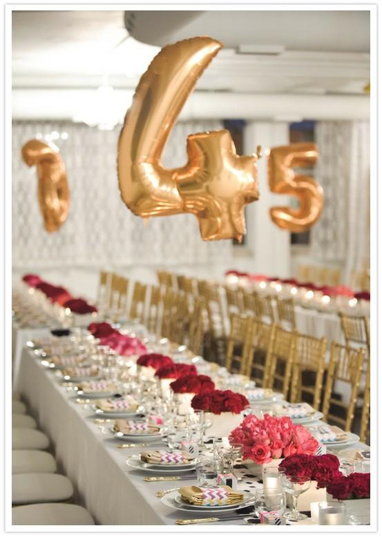 Decoraciones de la boda o la fiesta de cumpleaños ♥ oro Creativo Globo Foil grande para el número tabla de la boda