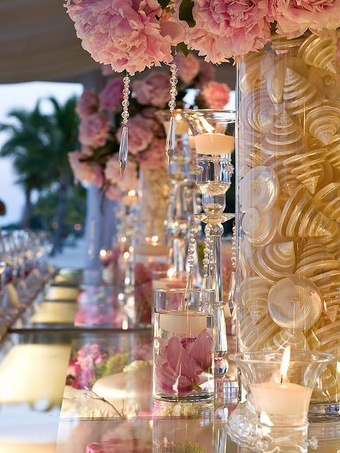 Pink wedding decor ideas pink flowers mother of pearl shells pink wedding decor ideas pink flowers mother of pearl shells crystals and candles wedding centerpiece mightylinksfo
