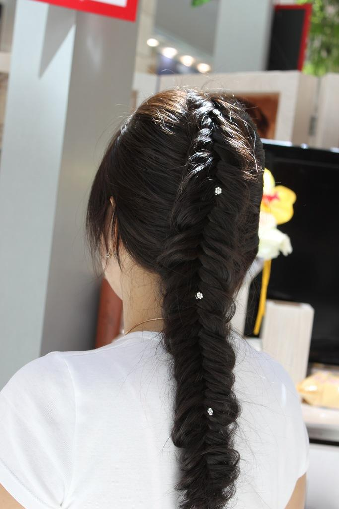 Wedding - Simple and Beautiful Fishtail Braid Hairstyles with Rhinestones Hair Pins