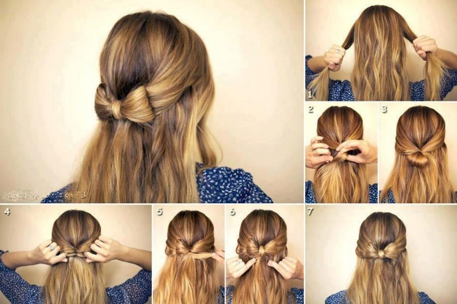 DIY Wedding Hairstyle Tutorial For Long Hair Simple Bow