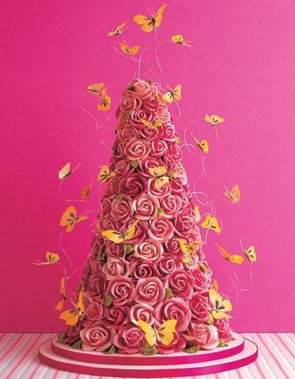 Mariage - Été ou décoration pour gâteau de mariage de ♥ unique et créative Rose Wedding Cakes avec des papillons artificiels Mélange