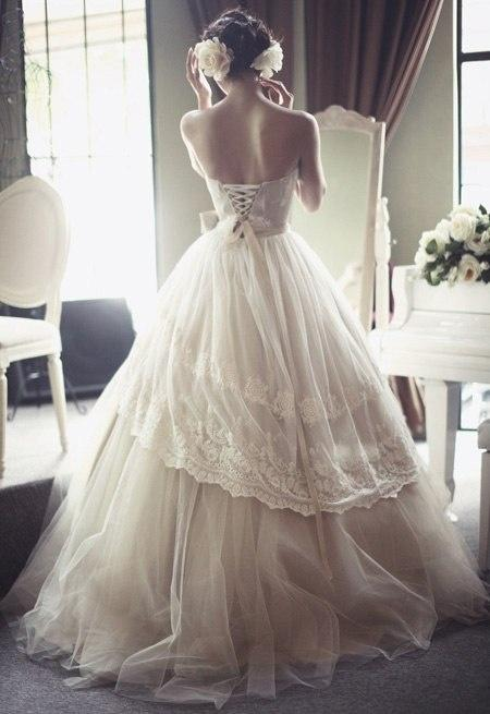 French Tulle Gorgeous Open Corset Back Victorian Style Wedding Dress