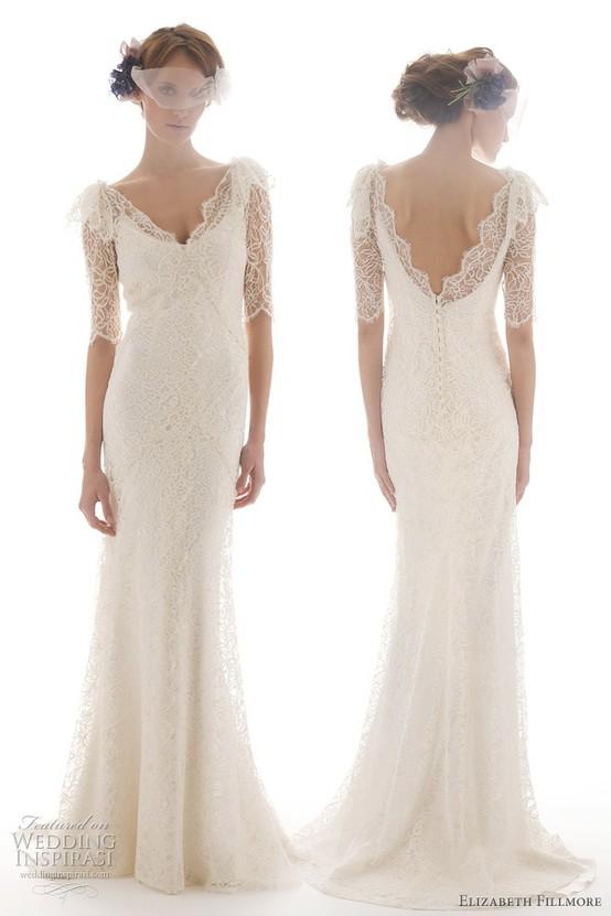 Elizabeth Fillmore French Lace Backless 3/4 Sleeve Wedding Dress ...