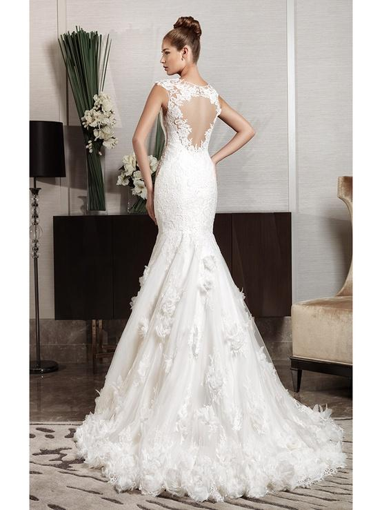 Cut Out Lace Back Fishtail Wedding Dress Intuzuri Bridal Collection