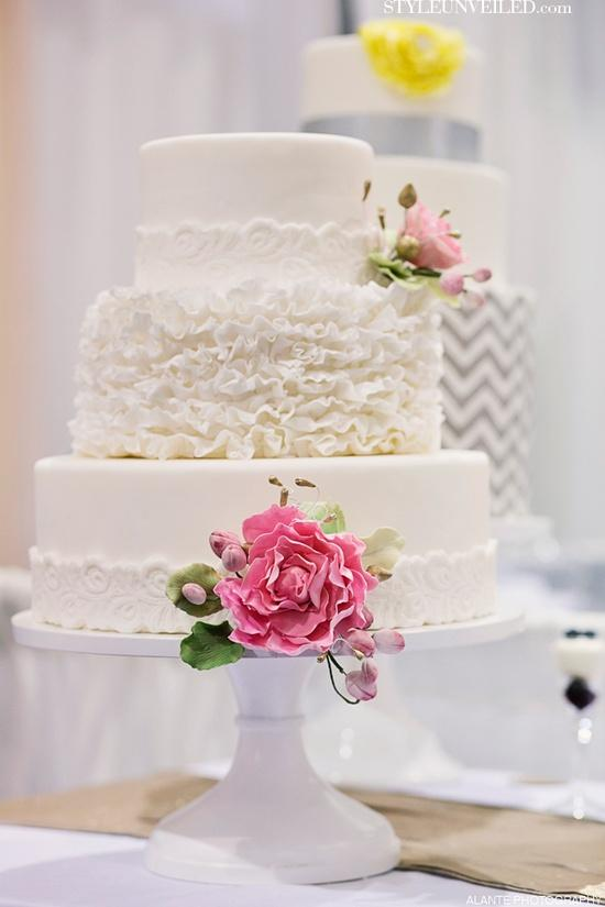 Wedding - White Ruffly 3-Tier Wedding Cake by The Sweet Side
