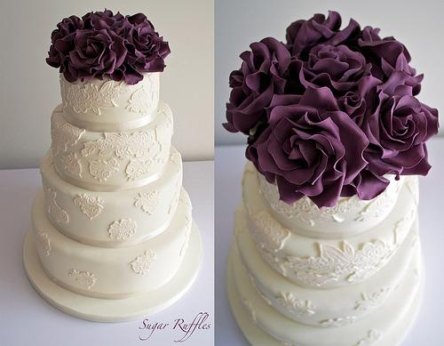 Purple Wedding - Ivory Lace With Deep Purple Roses #1987564 - Weddbook