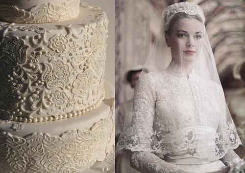 Свадьба - Кружева торт вдохновлен свадебное платье Грейс Келли.