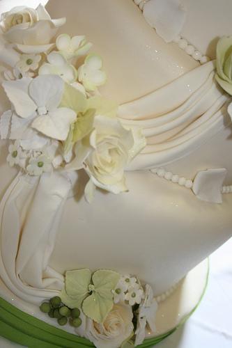 Mariage - Crème et pâle mariage vert Gâteau Détails