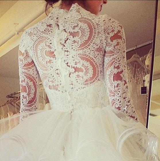 زفاف - Ivory wedding dress with heavy floral patterns
