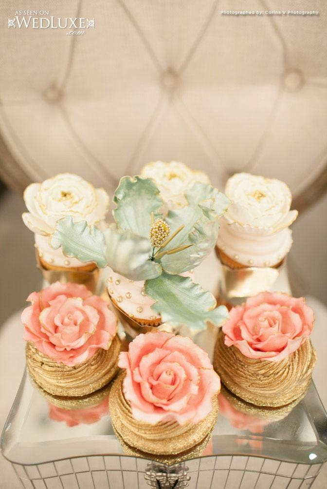 gilded bridal shower cupcakes
