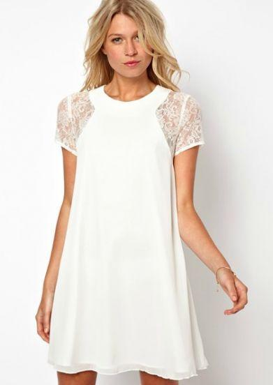 White Lace Dress Short Sleeve