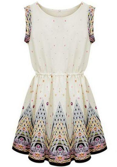 Hochzeit - Ivory Round Neck Sleeveless Embroidery Dress - Sheinside.com