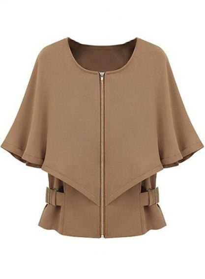 Wedding - Camel Half Sleeve Zipper Crop Cape Coat - Sheinside.com