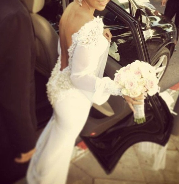 Wedding - Low back satin wedding gown decorated with laces
