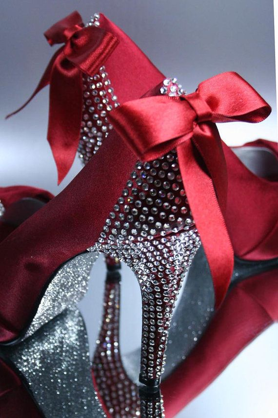 silver wedding red hot wedding shoes with rhinestones