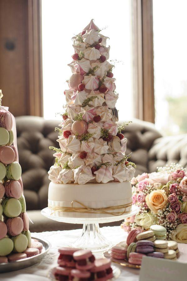 Tower Like Wedding Cake Decorated With Cherries