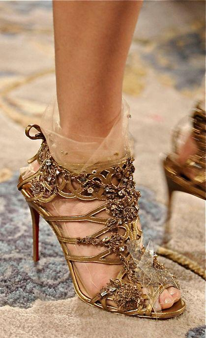 Wedding - Golden high heels sandals by Christian Louboutin