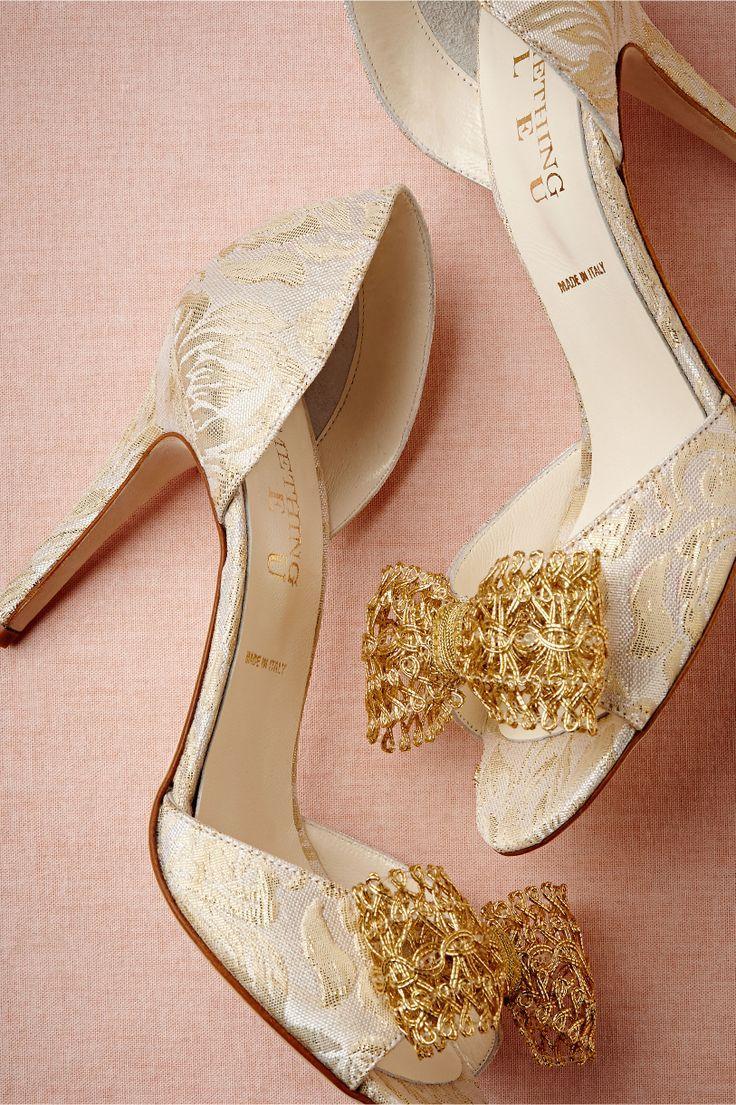 9219b4163df1 High Heel Ivory Wedding Shoe With A Golden Bow  2038898 - Weddbook