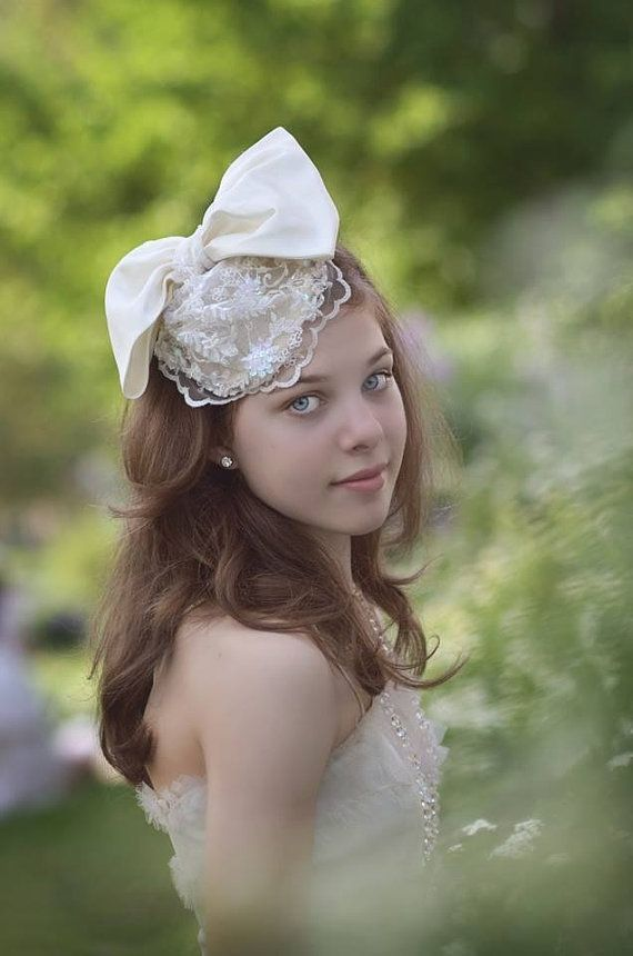 Wedding - The Timeless Bride Ivory Satin Bow & Lace Wedding Headpiece By Ruby And Cordelia's Millinery
