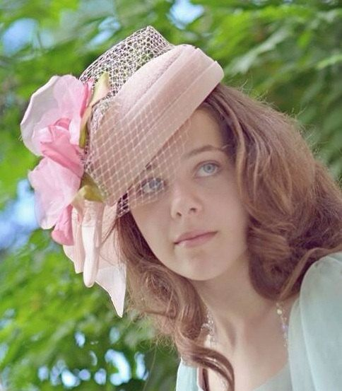 Soft Pink Vintage Hat Embellished With A Vintage Millinery Flower Ready To  Ship By Ruby   Cordelia s Millinery aa82b1fcde6