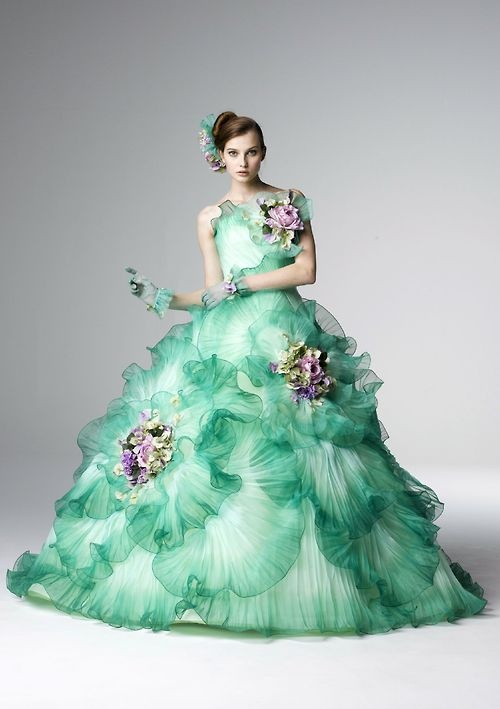 Frilled Sea Green Wedding Gown For The Bride #2039770 - Weddbook