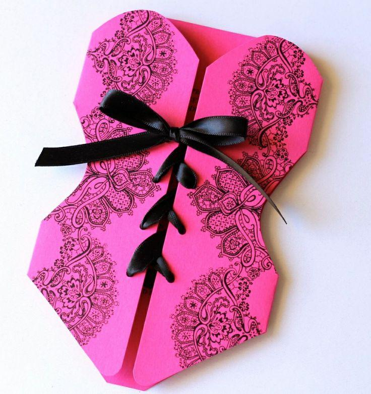 Unique Pink Corset Shaped Wedding Card