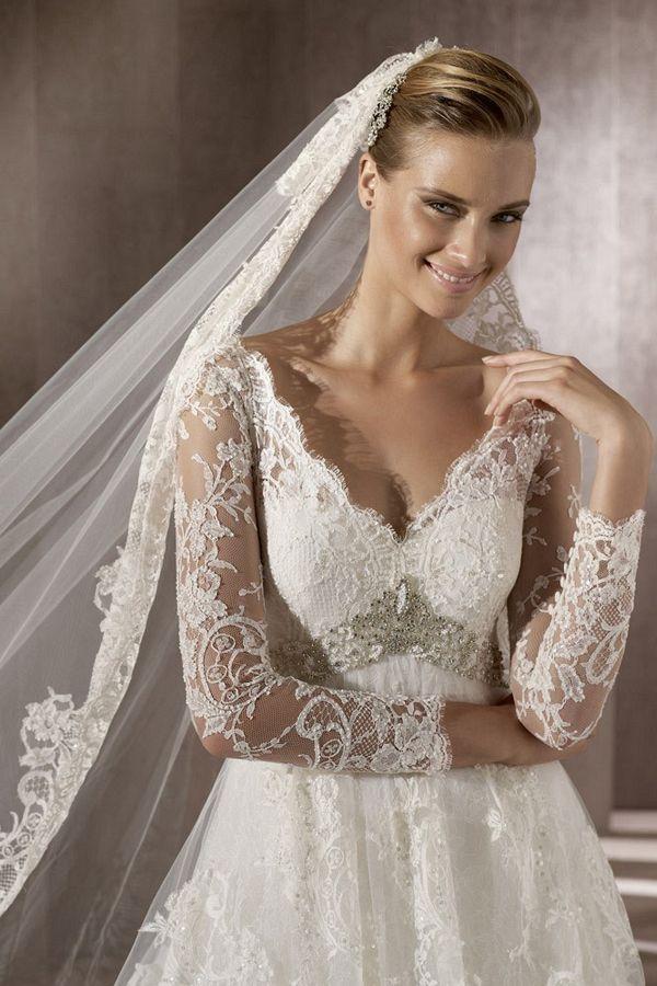 Wedding - Long Sleeved White Lace Wedding  Dress