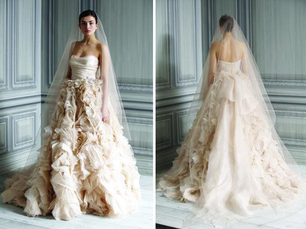 Off White And Light Brown Crumpled Wedding Gown #2040297 - Weddbook