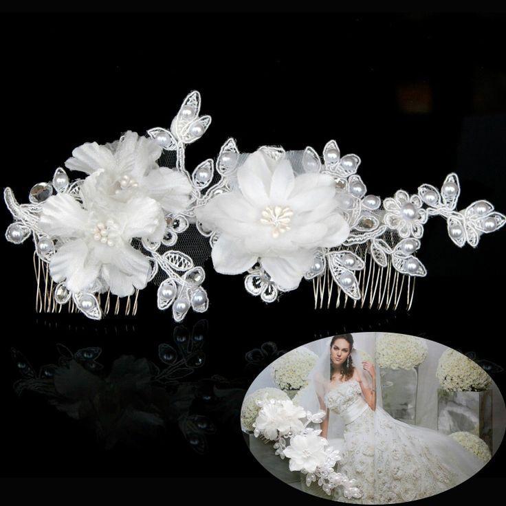 Hochzeit Braut Lange Detail Spitze Haar Kamm Hochzeits Blumen Strass