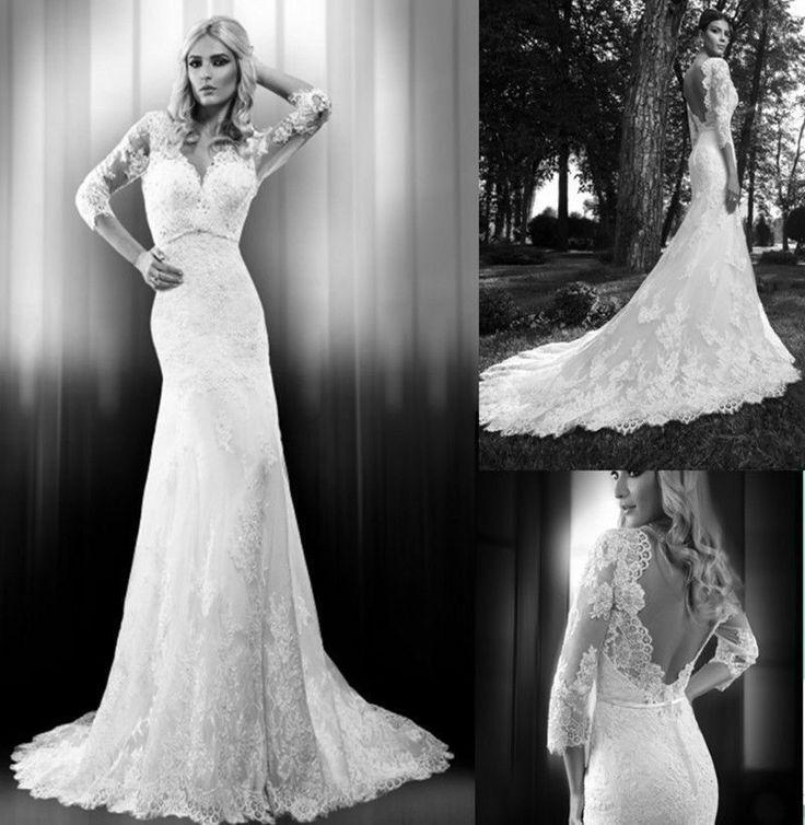 Wedding - New Arrive Noble White/Ivory Lace Long Sleeve Mermaid Wedding Dress Custom Size