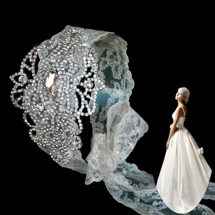 زفاف - كبير حجر الراين خوذة الزفاف مكعب حساس الرباط العصابة الإكسسوار