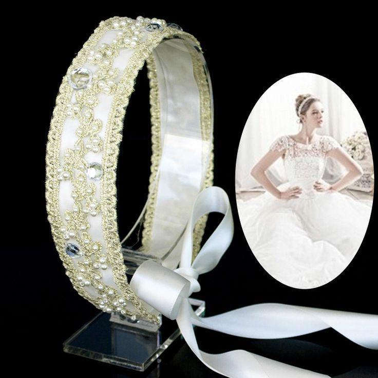 زفاف - زفاف العرسان بيرل الضوء الأصفر الرباط غطاء الرأس حجر الراين العصابة