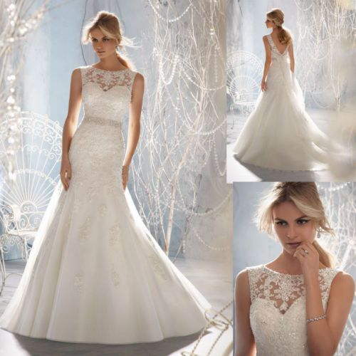 Elegant Off Shoulder Lace Appliques Bridal Wedding Gwons Dress Custom