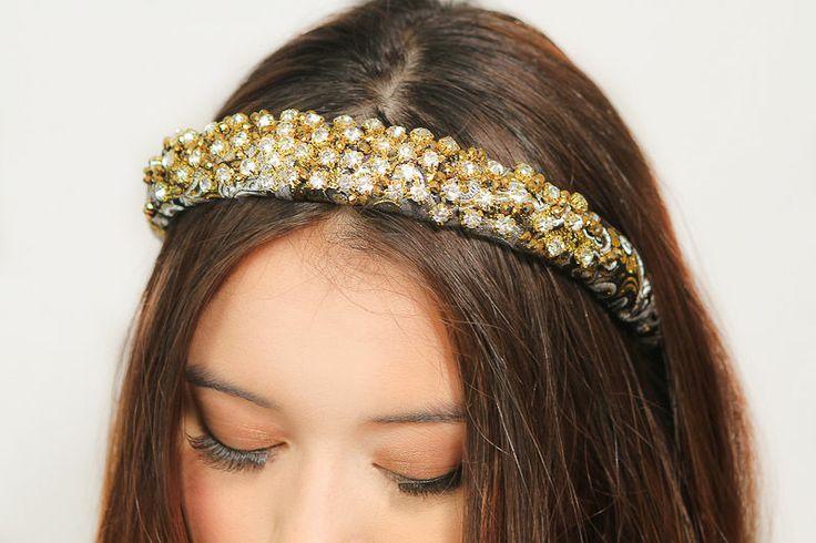 Mariage - Or perlé en cristal de bandeau diadème Gossip Girl Style