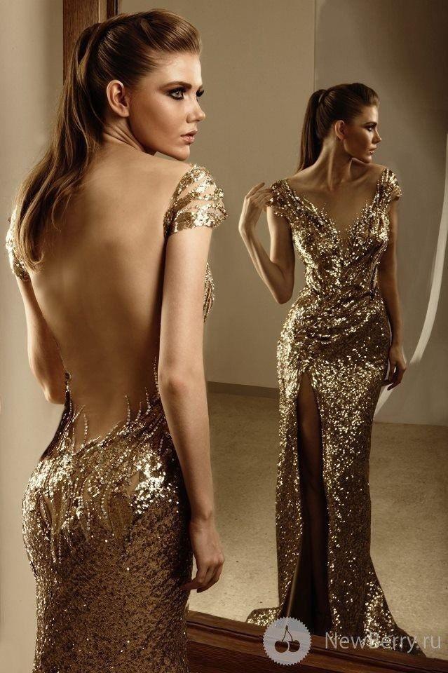 Low-Back Gold Sequin Dress