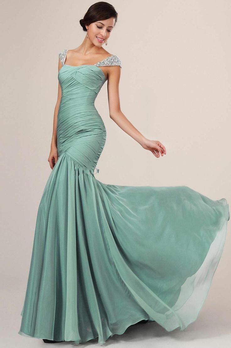 Cap Sleeve Beaded Chiffon Long Evening Formal Dress Night Party Prom ...