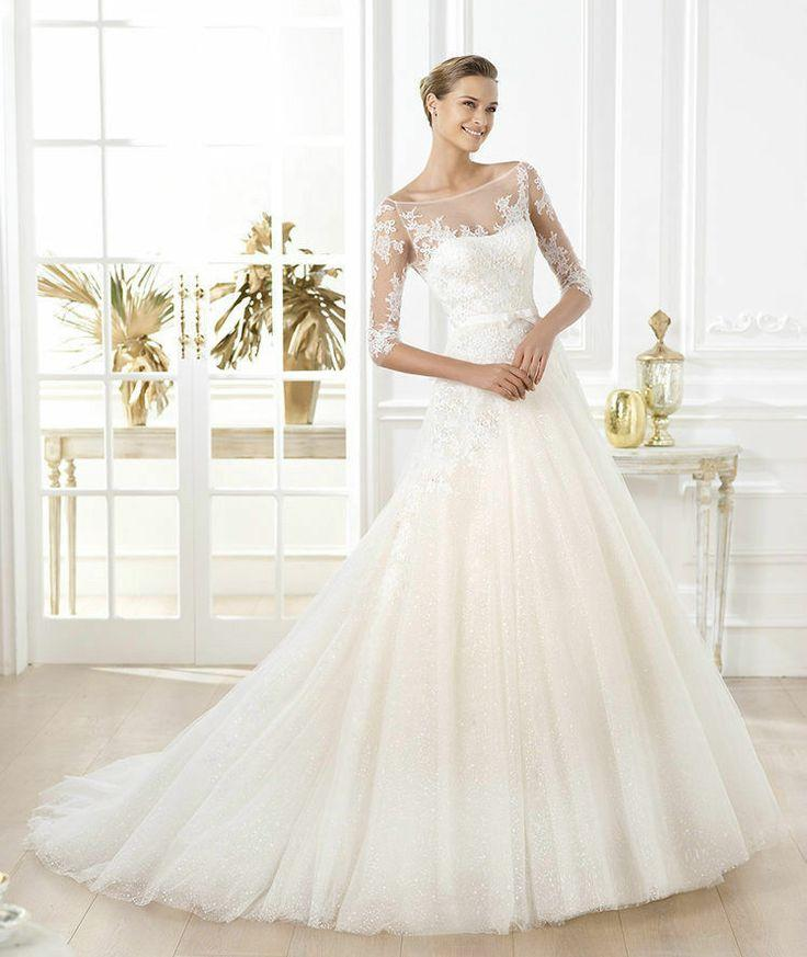 2014 new white ivory half sleeve a line wedding dress size for Wedding dresses with half sleeves