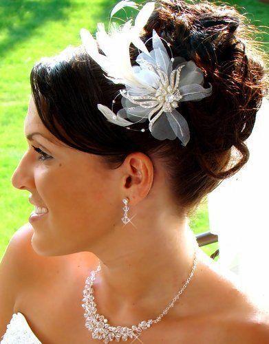 Hochzeit - White Feather Brautschmuck Kristall Kopfstück Comb