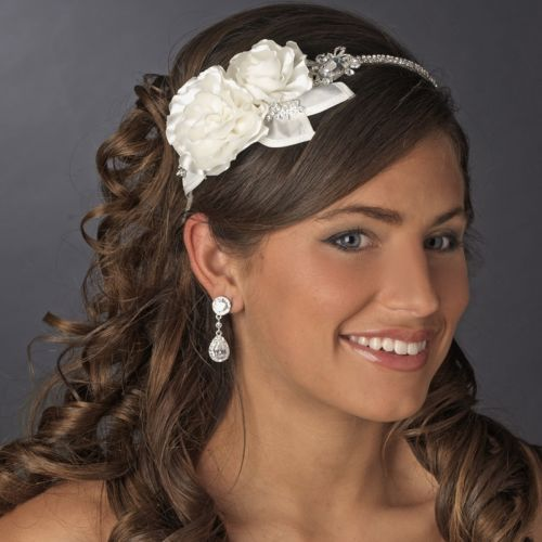 Wedding - NWT Rhinestone And Flower Side Accent Bridal Wedding Headband