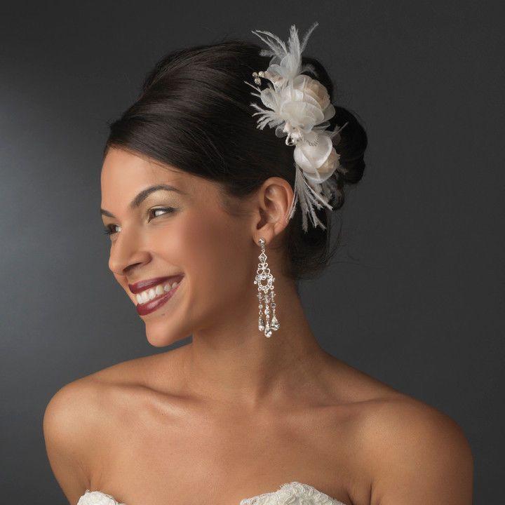 Свадьба - СЗТ цвета Слоновой кости И Ром Розовый Цветок Перо Расческа для Волос