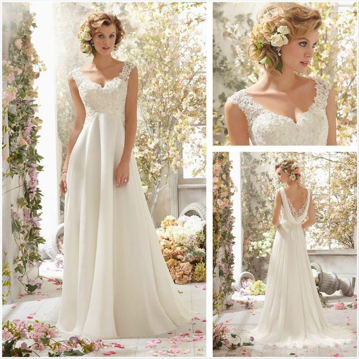 New White Lace Cap Sleeve A-Line Floor Length Wedding Dresses ...