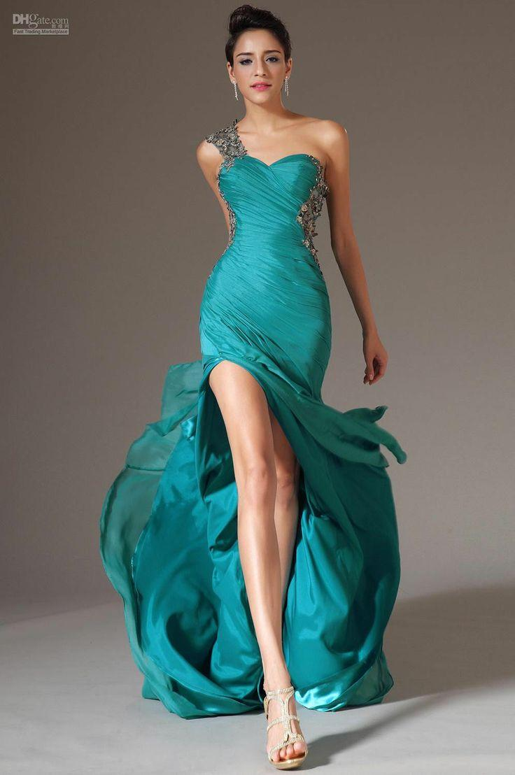new chiffon one-shoulder quinceanera evening party prom gowns celebrity dresses  2046457